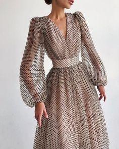 V Neck Midi Dress, Long Sleeve Midi Dress, Maxi Dress With Sleeves, Dot Dress, Mesh Dress, Dress With Collar, Wrap Dress, Elegant Dresses, Pretty Dresses