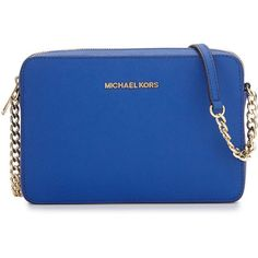 MICHAEL Michael Kors Jet Set Travel Saffiano Crossbody Bag ($148) ❤ liked on Polyvore featuring bags, handbags, shoulder bags, purses, accessories, electric blue, travel shoulder bag, cross body travel purse, crossbody shoulder bags and royal blue handbag