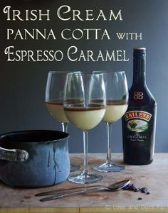 Bailey's Irish Cream Panna Cotta with Espresso Caramel for St. Patrick's Day #recipe