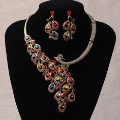 Peacock Wedding Jewelry, Wedding Jewelry Sets, Wedding Accessories, Peacock Jewelry, Silver Jewelry, Silver Ring, Fashion Necklace, Fashion Jewelry, Fashion Fashion