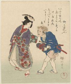 anoniem | Echtpaar met vissen op het hoofd, mentioned on object Shigenobu (II) , Yanagawa, c. 1890 - c. 1900 | Een man en een vrouw met viissen op het hoofd. Met één gedicht. De prent is een b-kopie.