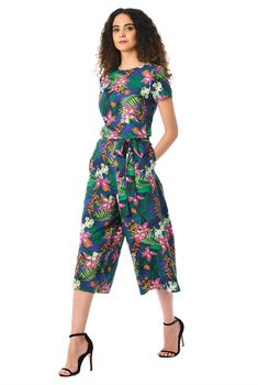 Vibrant floral print pattern our jumpsuit styled with a boat neck bodice and wide leg crop pants. Love Clothing, Cropped Pants, Dresses Online, Ready To Wear, Floral Prints, Jumpsuit, Clothes For Women, Boat Neck, My Style