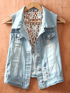 denim jacket with lace/crochet backing