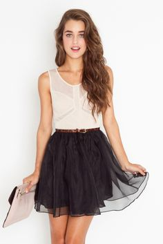 sheer top and skirt