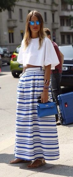 Perfect Striped #skirt With #croptop #summerstyle #summeroutfit #outfits #fashion