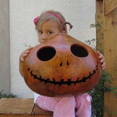 Halloween Gourd Jack-O-Lantern XXX Large (inspired by Tim Burton) Jack Skellington Spooky Fall Candy Bowl Decoration via Etsy.