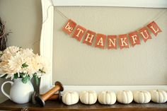 be thankful orange burlap banner