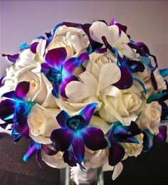 This bouquet is amazing with white roses and dyed orchids which I will have at my wedding Blue Orchid Bouquet, Blue Orchid Wedding, Purple Orchids, Purple Flowers, Our Wedding, Dream Wedding, Wedding Ideas, Wedding Prep, Wedding Things