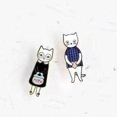 broche Mr et Mrs Cat