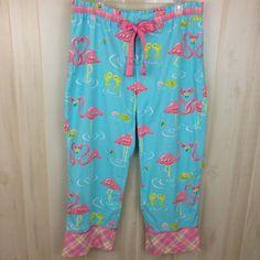 411240f7fc Nick   Nora Women s XL Flamingos Fish Pajama Lounge Aqua Pink Plaid 100%  Cotton