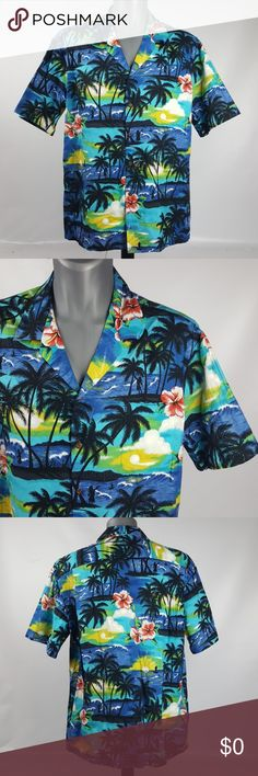 Pacific Legend Tropical Hawaiian Shirt 2XL Pacific Legend Hawaiian Camp Shirt  Men's 2XL  Colorful tropical ocean, beach, palm trees, flowers print Button front  Short sleeves 100% Cotton  Made in Hawaii Pacific Legend Shirts Casual Button Down Shirts
