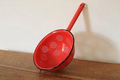 Vintage red enamel metal colander strainer kitchen by KeepitRetro