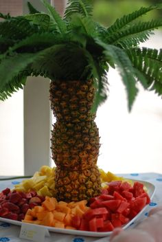 This was one of my favorite displays//food art we had at Blakely's Luau ! Luckily I had a friend help me get it ready a few days before!  ...