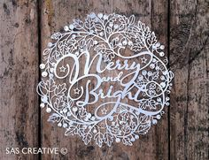 Christmas Papercut Template 'Merry & Bright' PDF by SASCreative   You can purchase SVG files for the silhouette cameo