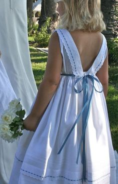 """""""Ribbons"""" Match the ribbon's color of your flower girls dress to your wedding theme. http://isabelgarreton.com/ribbons-cotton-girls-dress/"""