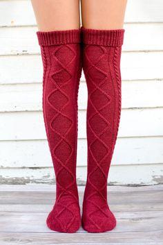 Burgundy Diamond Cable Knit Boot Socks