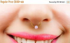 SALE  Pink Septum Fake Piercing Pink Opal Nose by JewelsByMoonli