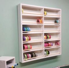Our Perfect+Wall Washi Tape organizer is the ultimate tool to store all of your washi tape. A scaled down version of our super popular ribbon organizers, removing a spool of tape is as easy as removin