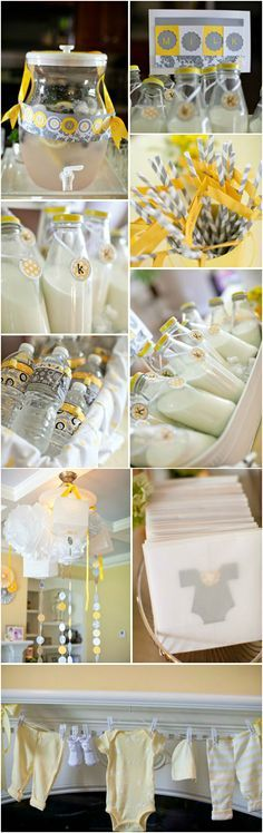Party ● Baby Shower ● Yellow & Gray Love the idea of the laundry line on the mantle