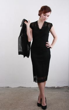 1930s Mesh 2 Piece  Sheer LBD and Jacket  by VeraVague