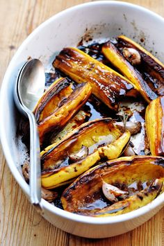 Balsamic-Glazed Delicata Squash -- Just 5 ingredients, plus salt and pepper -- and with delicata, you can eat the peel, so it's even less work! Looks delicious for Thanksgiving or anytime.