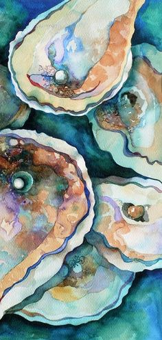 Oyster Painting by Carol Shamrock - Oyster Fine Art Prints and Posters for Sale Art And Illustration, Coastal Art, Art Graphique, Henri Matisse, Beach Art, Oysters, Painting Inspiration, Watercolor Paintings, Watercolors