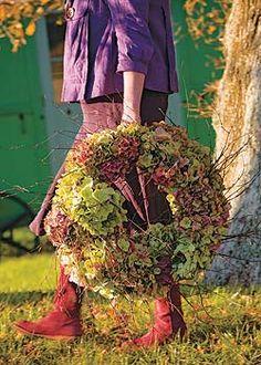 Hydrangeas make a generous wreath