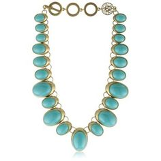 Anne Klein Gold-Tone Plated Turquoise Color Drama Collar Necklace
