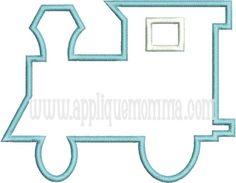 Simple Train Applique Design - 4x4 (3.16W X 3.87H), 5X7 (4.92W X 6.02H), 6X10 (6.16W X 7.55H)
