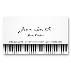 Make a terrific first impression with this Classy White Piano Music Teacher Business Card. Customise this design as your own just in minutes. Teacher Business Cards, Business Card Maker, Cool Business Cards, Business Card Design, Creative Business, Teacher Logo, Letterhead Template, Card Templates, Printing And Binding
