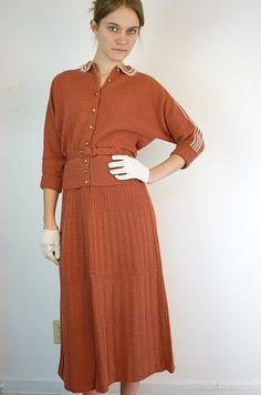 1940's French 2-Piece Sweater Dress Set