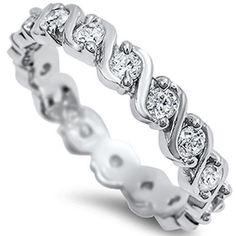 925 Sterling Silver Clear CZ Tennis Bracelet Style Wedding Band Ring Size 5-10 #Unbranded #WeddingRing