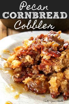 Pecan Cornbread Cobbler | A pecan cobbler recipe made with cornbread for a rustic, sweet, Southern dessert!