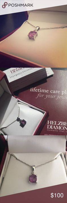 Helzburg Alexandrite (June Birthstone) Necklace June birthstone Alexandrite necklace from Helzburg Diamonds. Includes lifetime warranty paperwork and 20 inch delicate silver chain. Jewelry Necklaces