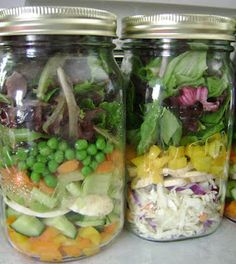 Salad in a jar. Great to grab and go!
