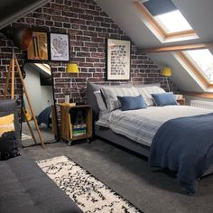 An exposed brick feature wall mural with Rebel walls. - An exposed brick feature wall mural with Rebel walls. Teen Room Decor Ideas brick exposed feature M - Attic Bedroom Designs, Attic Bedrooms, Attic Design, Attic Bedroom Ideas For Teens, Attic Ideas, Loft Room, Bedroom Loft, Bedroom Inspo, Bedroom Inspiration