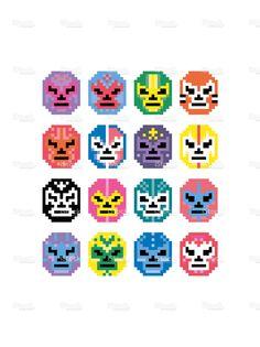 Pixel Mexican Wrestling Masks stock vector art 66074549 - iStock