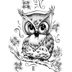Owl on Behance #owl #bird #dots #work #draw #tattoo #drawing #art #artist