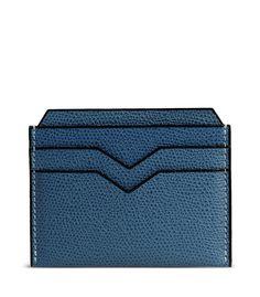 Valextra Slate Blue Leather Card Case