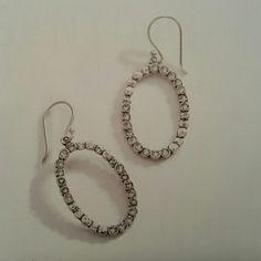 """Oval glitz earrings Drops. Swarovski crystals,  sterling silver.  1 1/2"""" length. Silpada  Jewelry Earrings"""