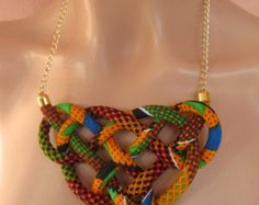SALE NOW Decorative knot, wax fabric print Bib Necklace , orange, , girl gift