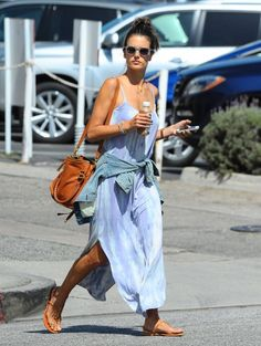 Victoria's Secret model Alessandra Ambrosio enjoys a juice drink while running errands on June 5, 2014 in Brentwood, California. Alessandra ...