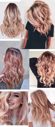 Fabelhafte Rose Gold Haarfarbe 2017 Fabulous Rose Gold Hair Color 2017 - New Best Hairstyle Cabelo Rose Gold, Rose Gold Blonde, Rose Blonde Hair, Pink Hair, Dark Hair To Blonde, Blonde Fringe, Blonde Pink, Blonde Bangs, Warm Blonde