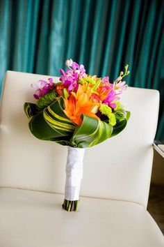 Colorful tropical bouquet