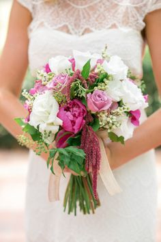 Pretty peony bouquet with pops of magenta