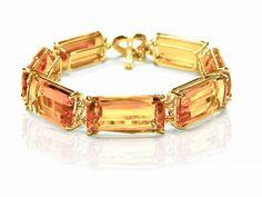 Goshwara 18k yellow gold citrine Gossip bracelet with toggle closure; $6,500 #Goshwara #yellowgold #citrine