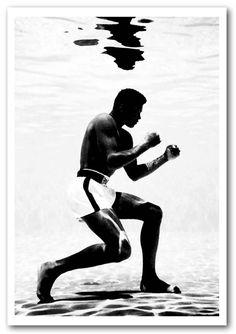 Muhammad Ali Boxing Under Water People Framed Art Giclee Art Print