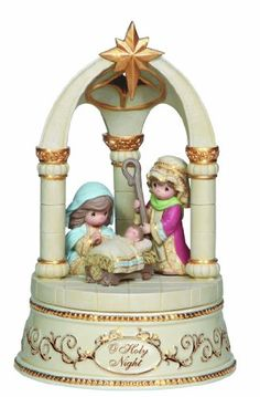 """Celebrate the true meaning of the holidays with the Precious Moments® O Holy Night Figurine. This musical Nativity decorative accent plays """"O Holy Night"""" and beautifully depicts the newborn Savior sleeping on a bed of straw beneath a star of wonder. Disney Precious Moments, Precious Moments Figurines, Catholic Altar, Merry Christmas To All, Christmas Things, Christmas Nativity, Christmas Ideas, O Holy Night, Collectible Figurines"""