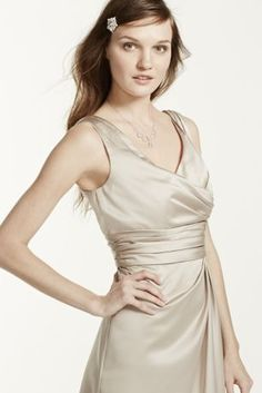 Classy and chic, this timeless style will look great in any bridal party!  V-neck tank bodice is supportive and flattering.  Ruched waist hides any flaws and creates dimension.  Satin fabric shapes a short, slim silhouette.  Lined bodice. Back zip. Imported polyester. Dry clean only.  Also available in extra length as Style 2XLF14823.