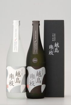 Japanese Shochu. Love the matte finish on the bottles and black and white palette. Simple labels and box